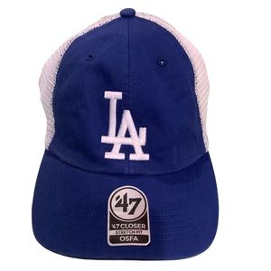 LA 47 Mesh White and Blue Cap Hat Stretch Fit OSFM Unisex